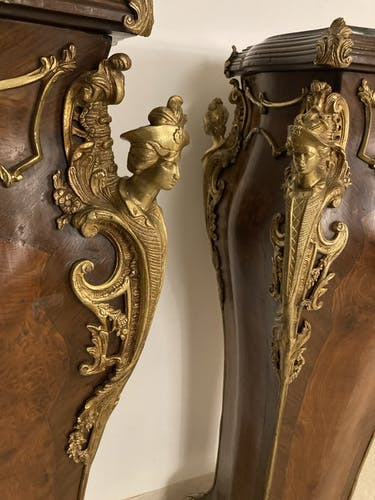 Paire de gaines marqueterie et bronze dorés
