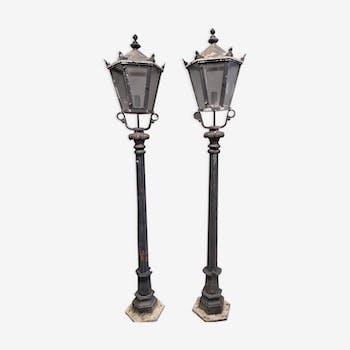 Paire de grands lampadaires de ville art nouveau