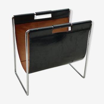 Porte-revue vintage en cuir et metal chromé par Brabantia, 1970s