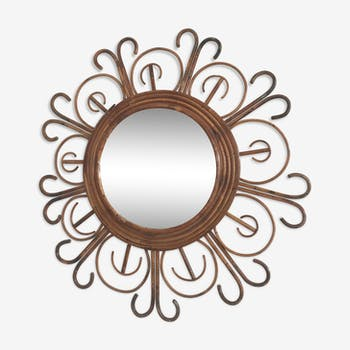 Miroir en rotin et osier vintage d 39 occasion for Miroir 110 50
