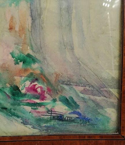 Tableau gouache sur papier bouquet de fleurs S.Leconte