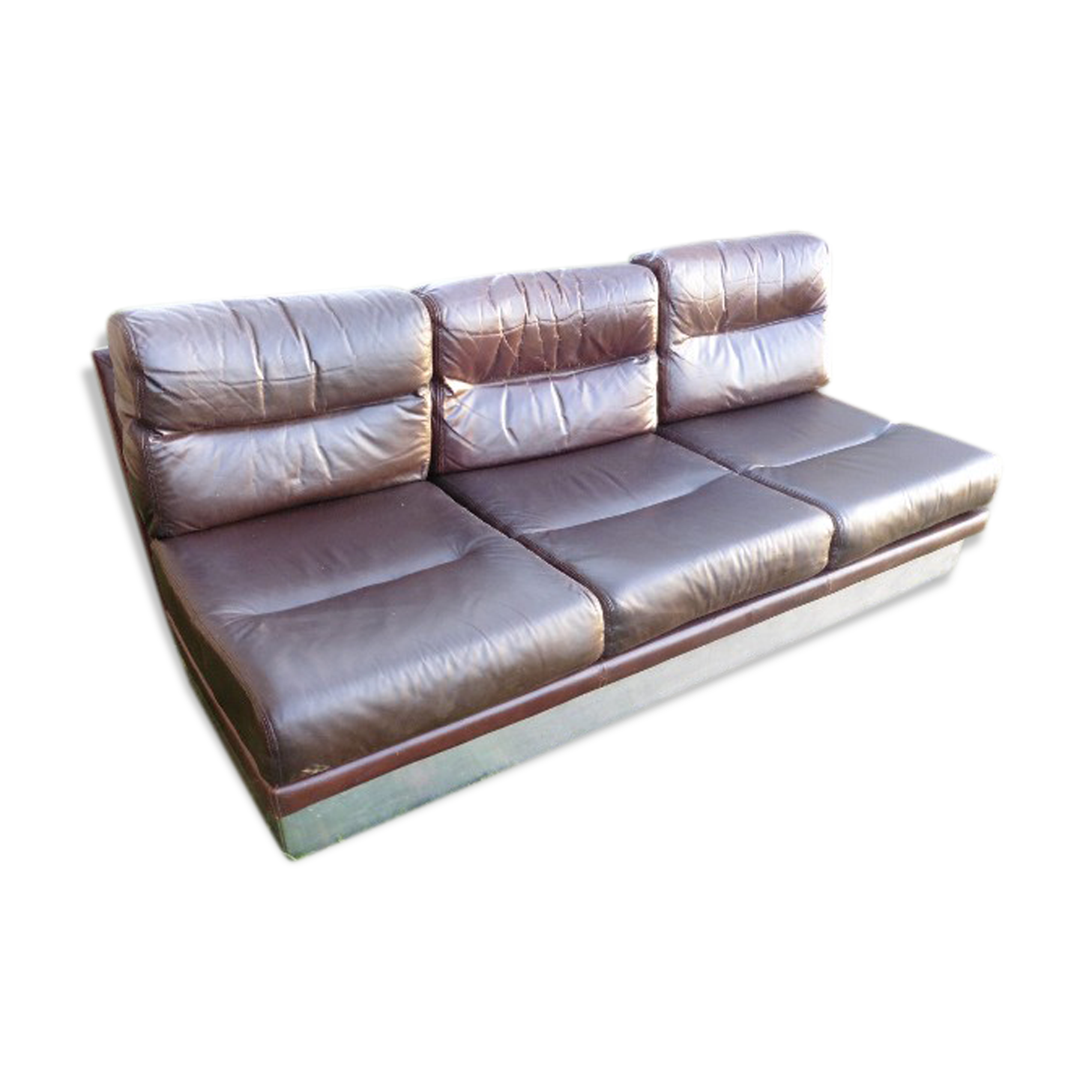 Sofa by jacques charpentier for roche bobois leatherette brown