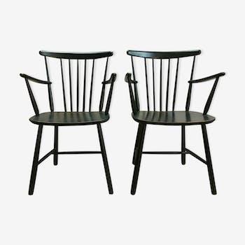 Paire de fauteuils scandinave en hêtre laqué noir vintage