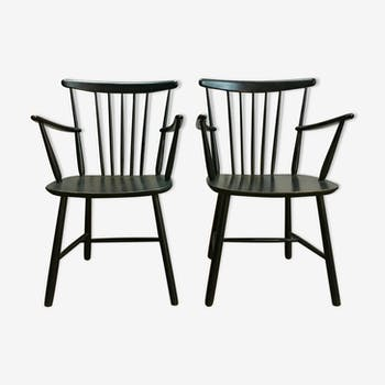Scandinavian pair of armchairs in vintage black lacquered beech