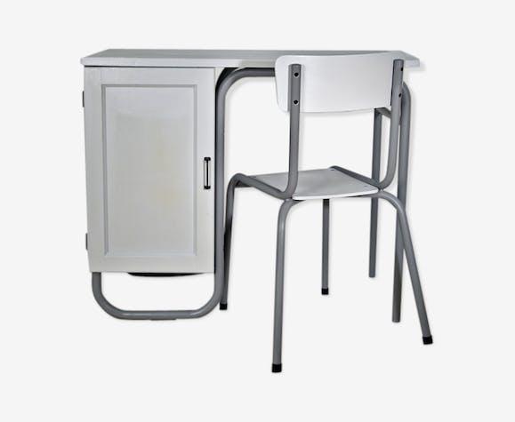 Bureau écolier enfant bois matériau gris vintage l3szso9