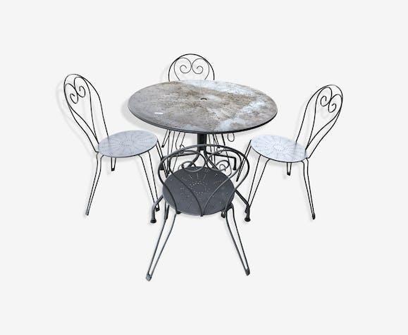Salon de jardin en fer forgé - fer - gris - vintage - a25EXMi
