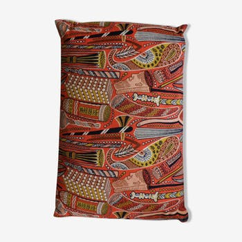 "Coussin rouge, coussin motif africain ""Le Cosy"""