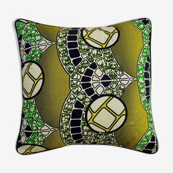 African wax fabric square with 40 X 40 trim and Removable cushion