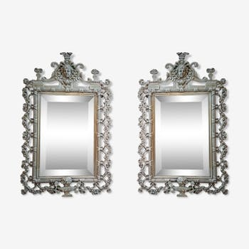 Pair of mirrors in bronze period XIXth 24 x 39 cm