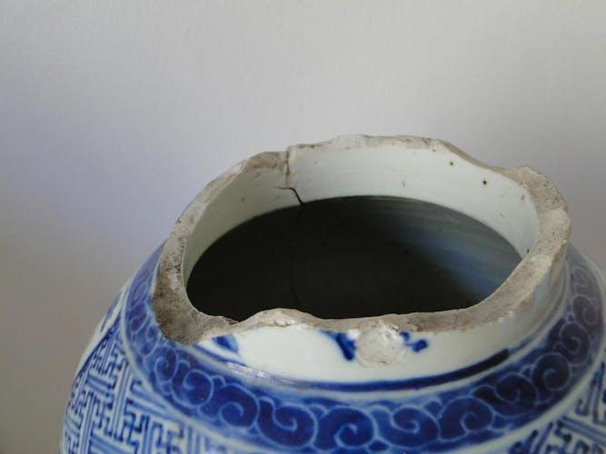 Vase de Chine blanc et bleu