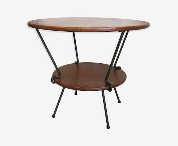 table basse bois massif fer forg vintage