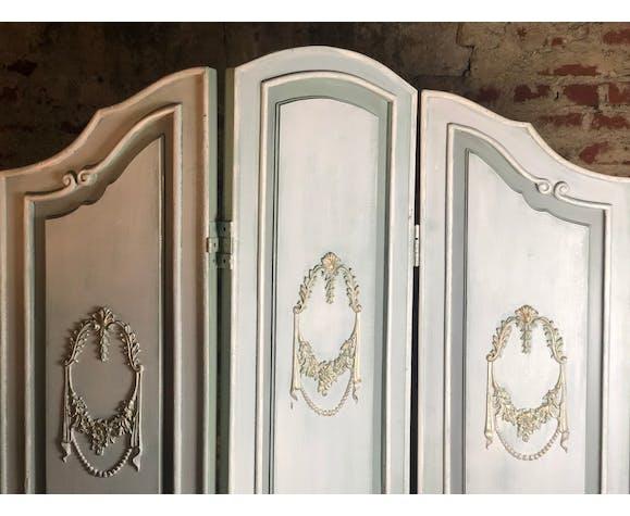 Paravent à 3 vantaux en bois de style Louis XV cérusé pastel vert, gris bleuté