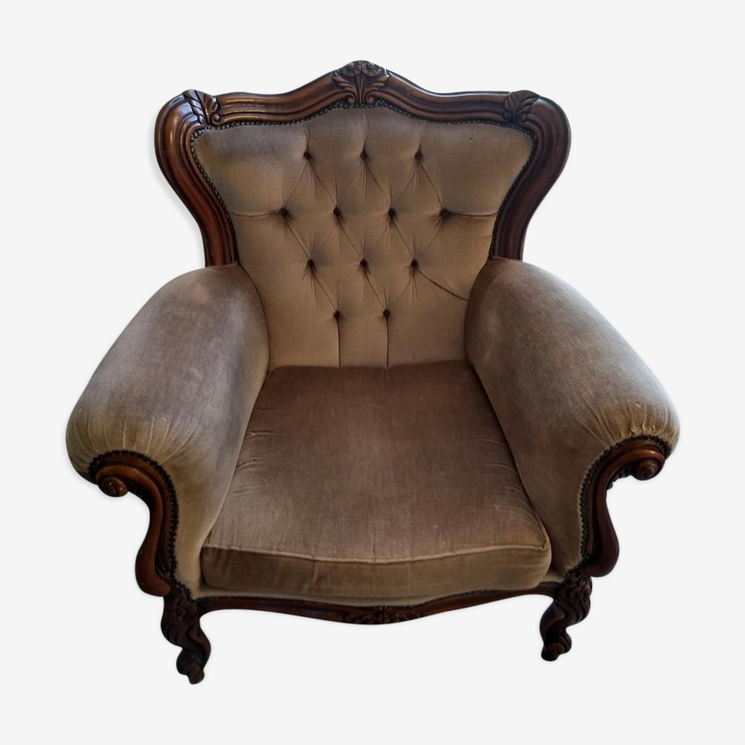 "Fauteuil Baroque fauteuil baroque model ""prince"" capitonné - bois (matériau) - marron"
