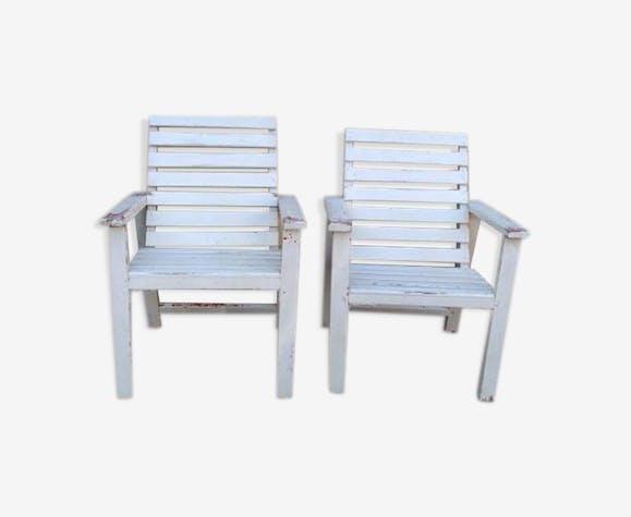 Faire de fauteuils de jardin - bois (Matériau) - blanc - vintage ...