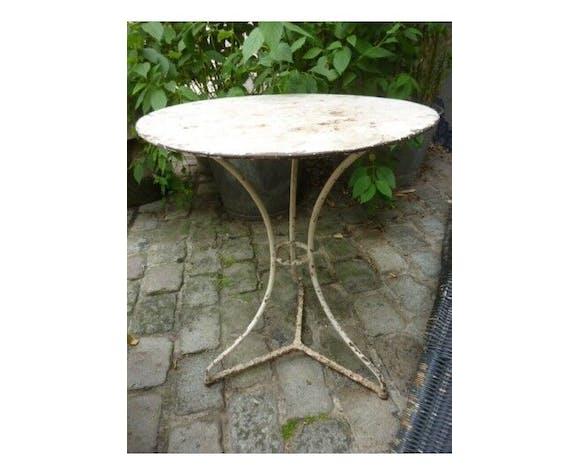 Ancienne Table Ronde De Jardin Blanche Metal Selency