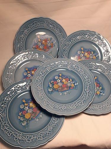 6 assiettes plates Gien par Marie Pierre Boitard