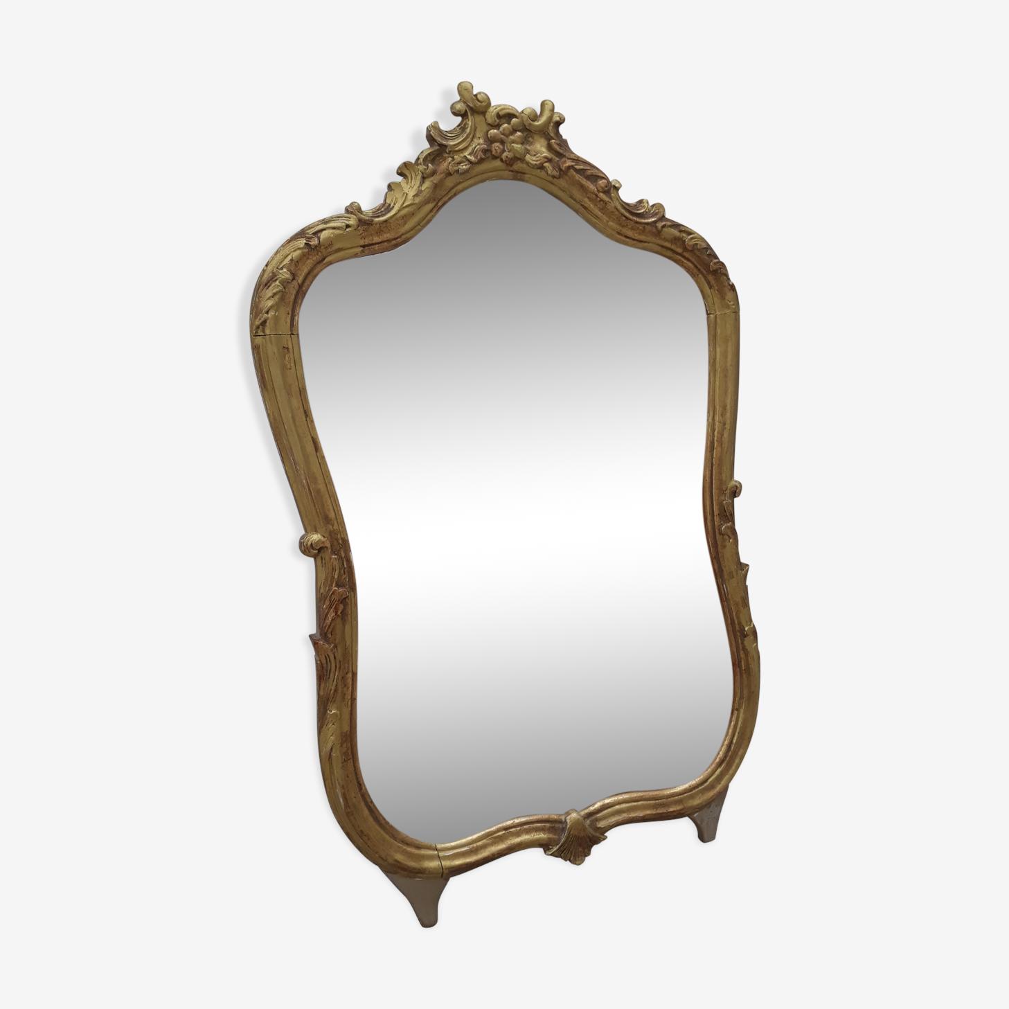 Miroir en bois doré  ancien style Louis XV - 48x72cm