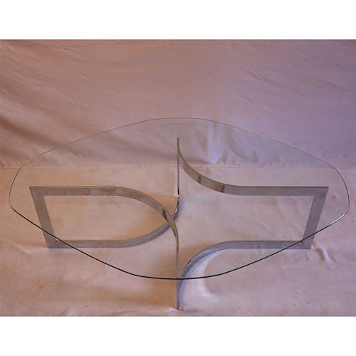Table basse en verre et chrome de Paul Legeard 1970