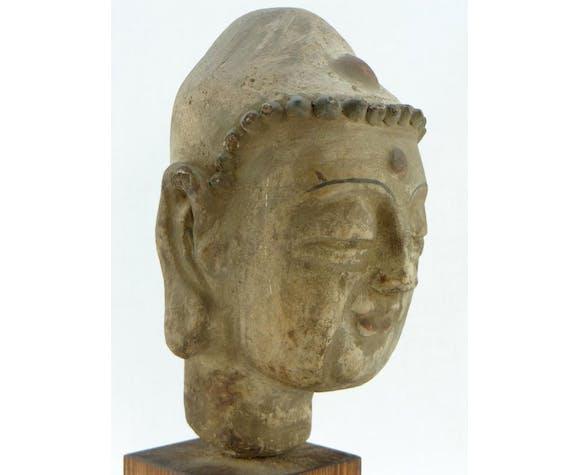 Tête de bouddha en terre cuite début du XXème siècle