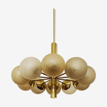 German Mid-Century Modern brass Sputnik chandelier by Kaiser Leuchten