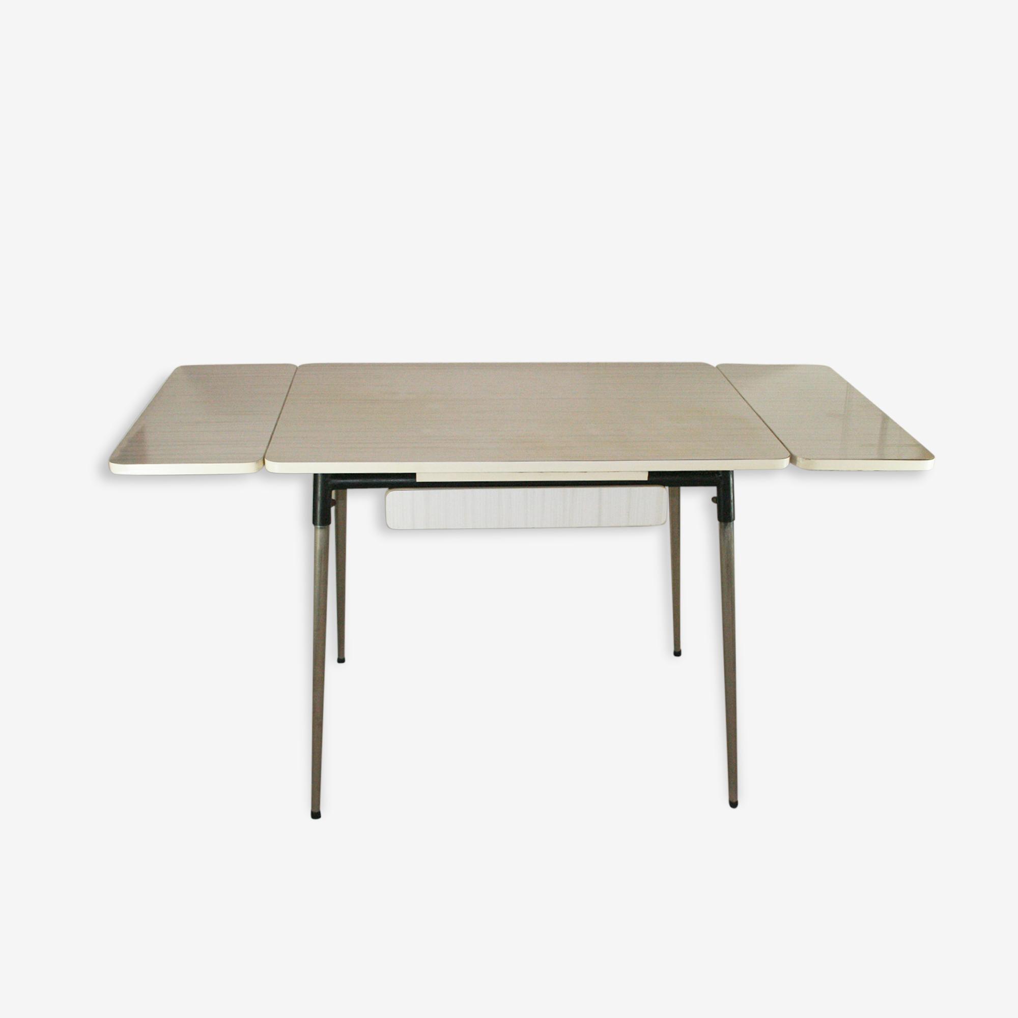 Grande table en formica blanche et grise extensible