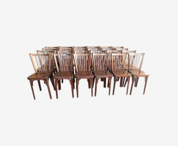 Lot de 24 chaises de bistrot Baumann de 1968