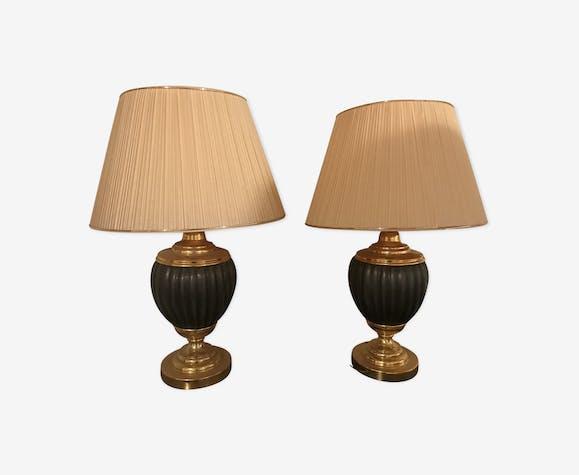 Lot de deux lampes potiche godron