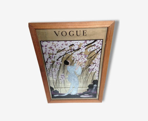 Miroir Ancien Dessin Cadre Vogue Vintage Rare Wood Multicolour Good Condition Vintage 103037