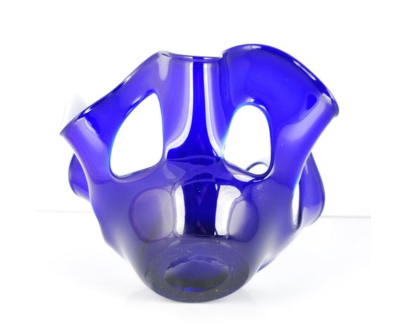 Cobalt glass bowl Cristalleria Fratelli Betti, Italy 60's