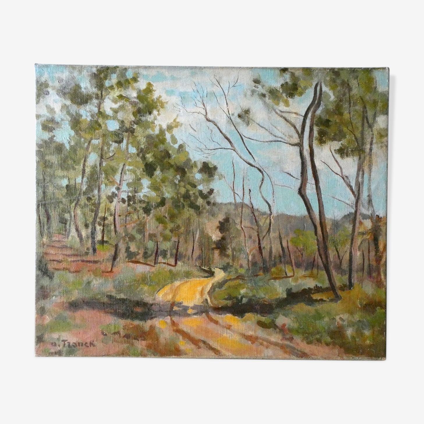 Tableau, huile sur toile, paysage de Provence, la Drome, années 40