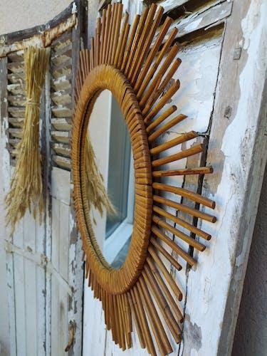 Miroir soleil rotin vintage 60cm