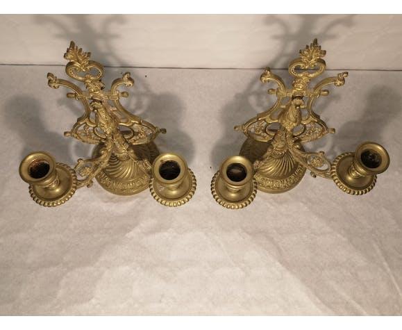 Paire de bougeoirs de piano en bronze doré XlXème siècle