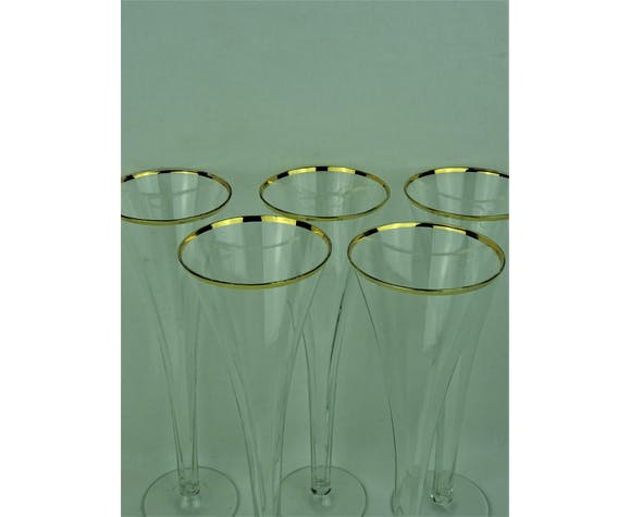 5 flûtes vintage en crystal