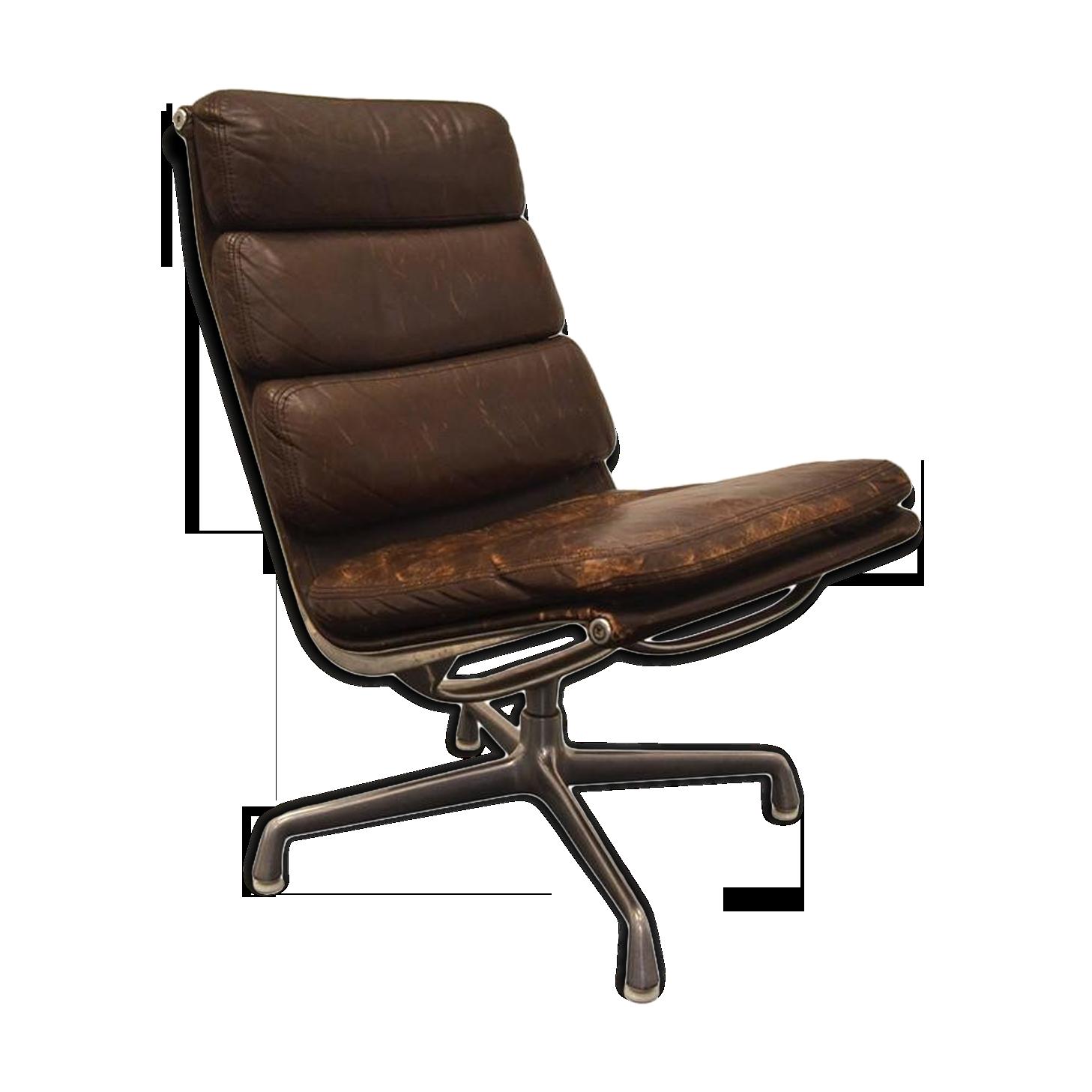 Fauteuil de bureau par Eames pour Herman Miller cuir marron