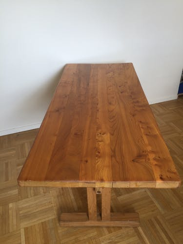 "Charlotte Perriand's solid elm meal table for ""Les Arcs"""
