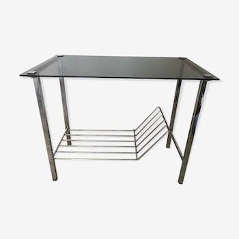 table d 39 appoint m tal verre ann es 70 verre et cristal argent couleur vintage gv8fy0a. Black Bedroom Furniture Sets. Home Design Ideas