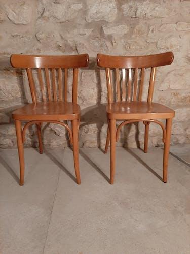 Paire de chaises bistrot tchécoslovaquie 5 barreaux