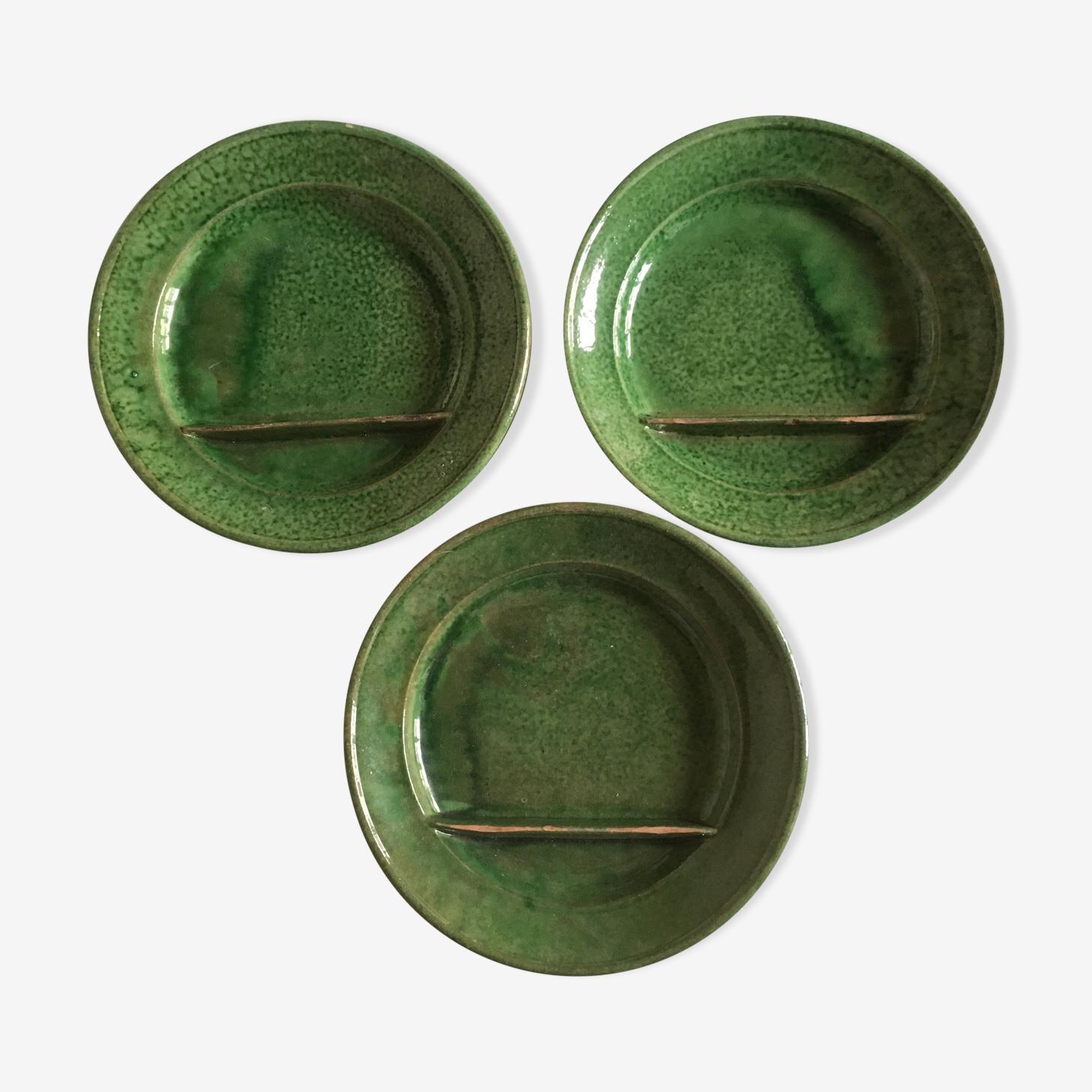 Biot 60s s glazed earthen signed plates