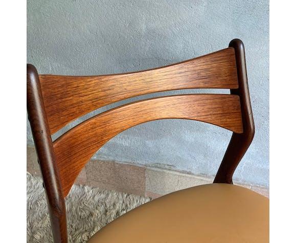 Chaise scandinave Erik Buch en teck et cuir