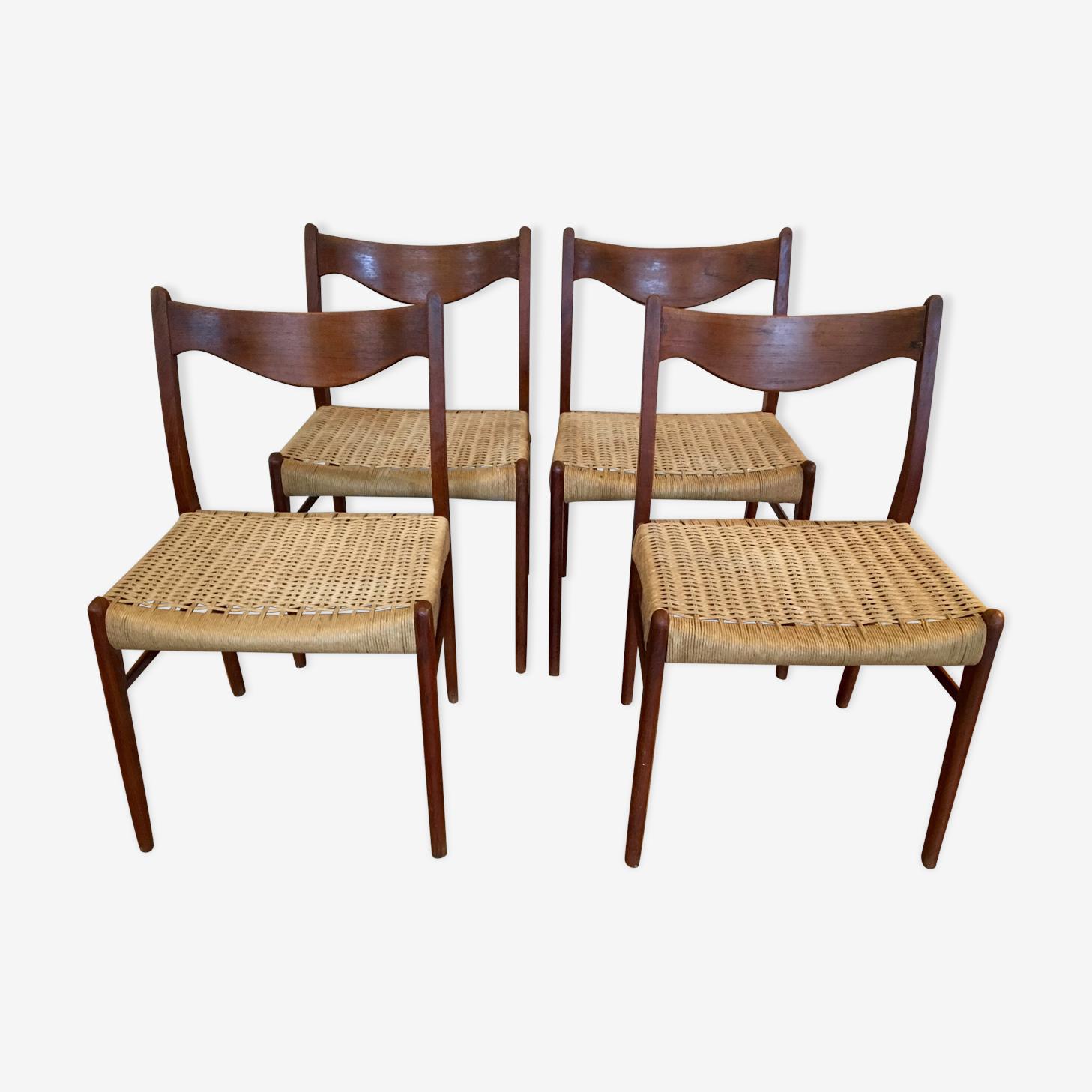 Suite de 4 chaises en teck et corde, Glyngore Stolefabrik