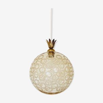 Lampe suspension en verre bulle avec détails en laiton