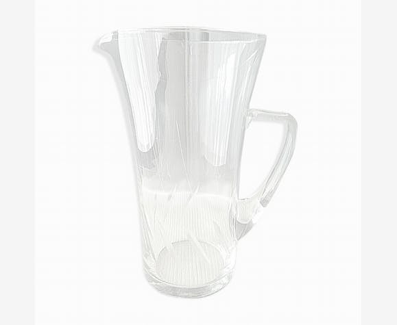 Carafe à eau ou orangeade en verre meulé vintage