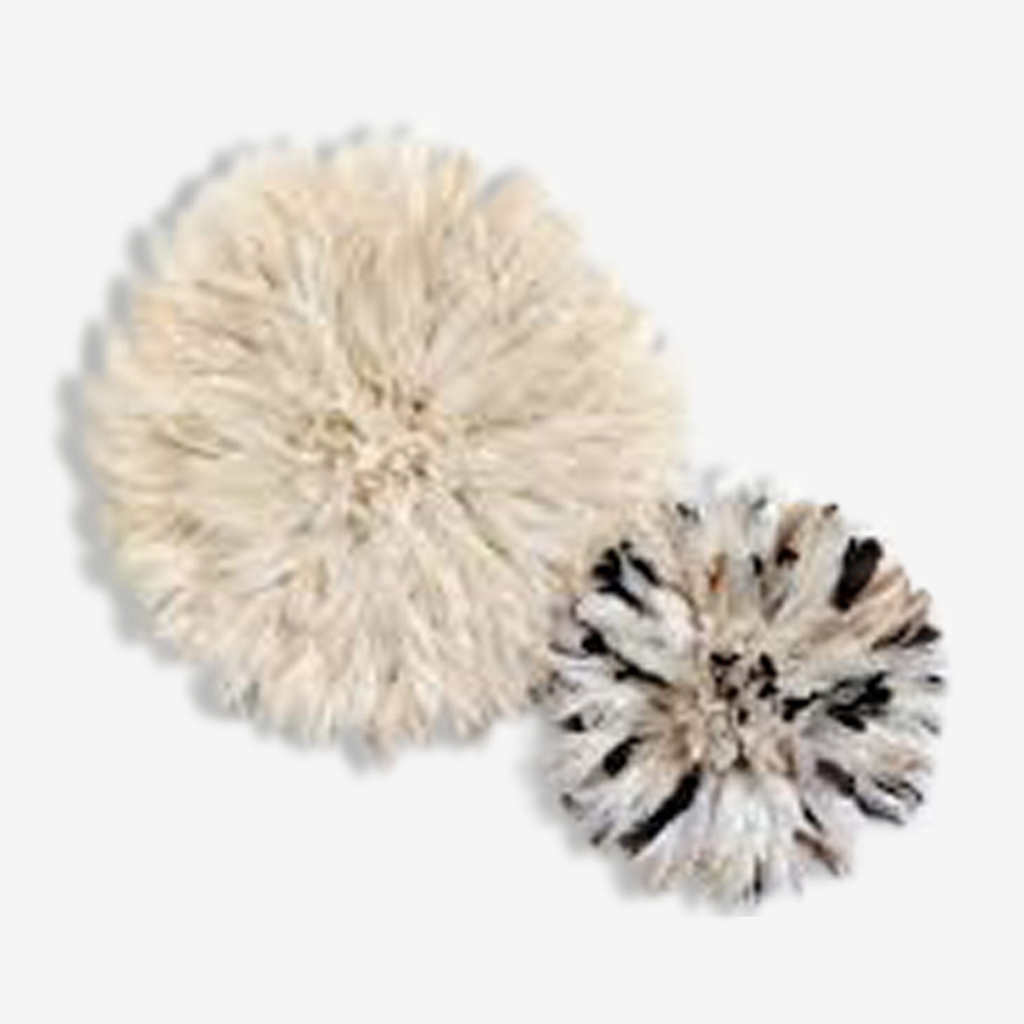 Set of 2 Juju Hat: White Pure of 80 cm and speckled white 60 cm natural