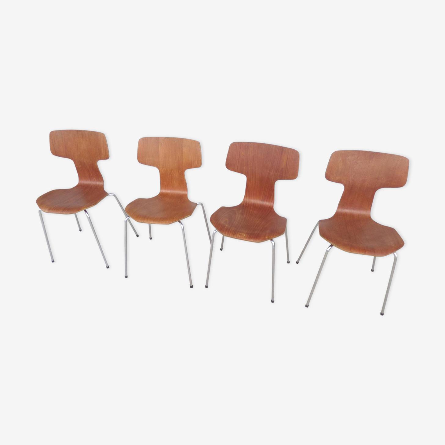 Série de chaises marteau 3103 Arne Jacobsen pour Fritz Hansen
