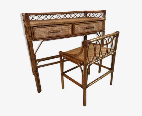 Magnificent Rattan Desk 1970 Rattan And Wicker Wooden Vintage Gmtry Best Dining Table And Chair Ideas Images Gmtryco