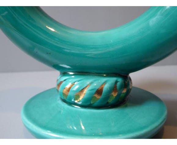 Bougeoir à deux bras en céramique de Vallauris