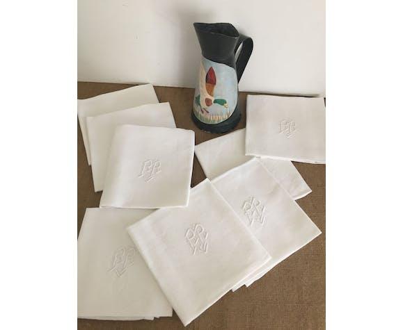 Set de 8 serviettes de table damassées monogramme, linge ancien