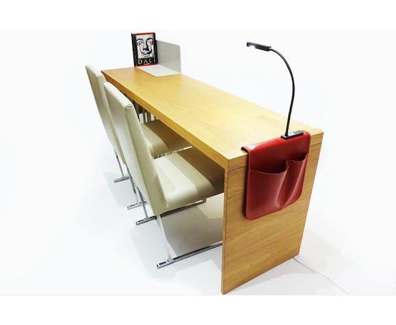 Bureau contemporain Molteni&Co Scriba avec 2 chaises en cuir B&B Italia Solo