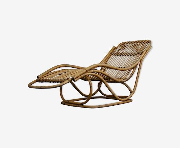 Chaise longue en rotin 1960s