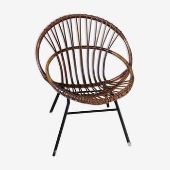 Base in iron vintage rattan chair